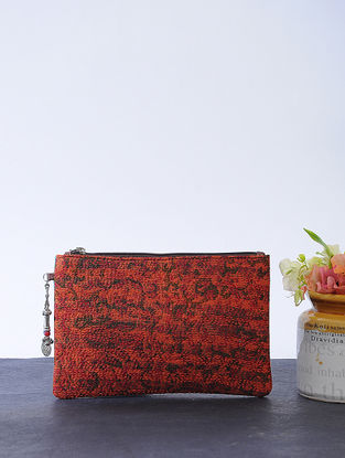 Red-Green Kantha-embroidered Cotton Wristlet