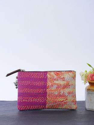 Pink-Maroon Kantha-embroidered Cotton Wristlet