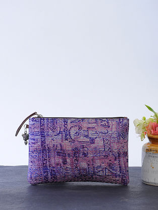 Purple-Green Kantha-embroidered Cotton Wristlet