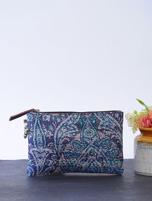 Blue-Green Kantha-embroidered Cotton Wristlet