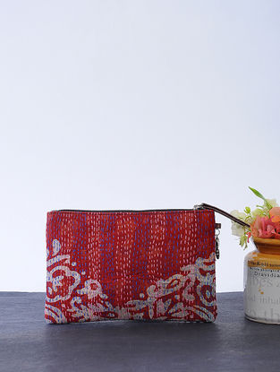 Ivory-Maroon Kantha-embroidered Cotton Wristlet