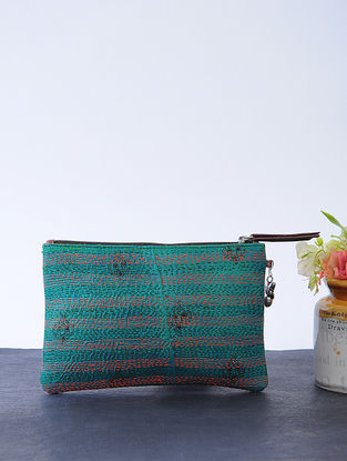 Green-Blue Kantha-embroidered Cotton Wristlet