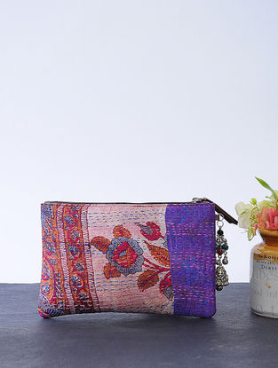 Purple-Red Kantha-embroidered Cotton Wristlet