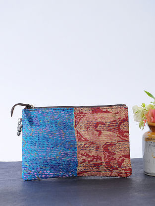 Blue-Red Kantha-embroidered Cotton Wristlet