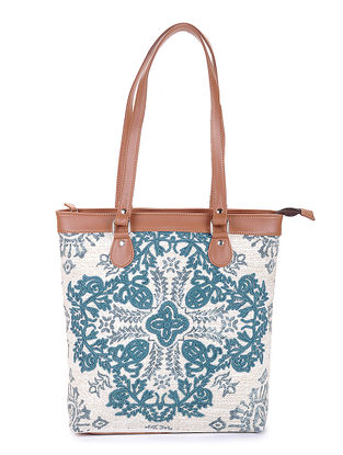Blue-Tan Handcrafted Printed Canvas Tote