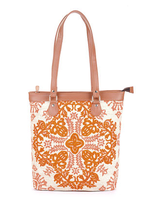 Rust-Tan Handcrafted Printed Canvas Tote