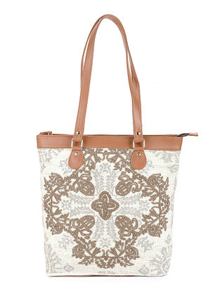 Natural-Tan Handcrafted Printed Canvas Tote