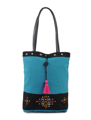 Blue-Multicolored Kutch-embroidered Linen Tote with Tassel