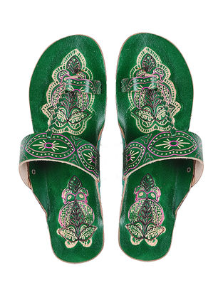 Green Hand-painted Leather Flats