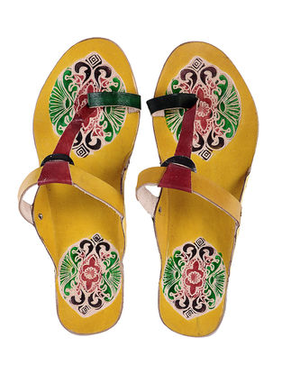 Yellow Hand-painted Leather Flats