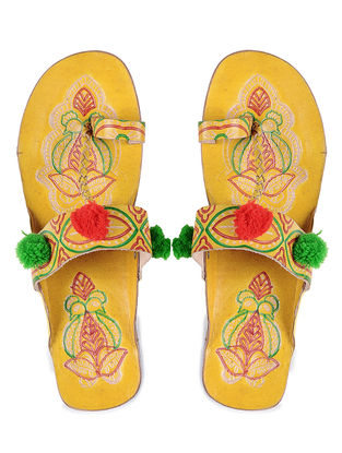 Yellow Hand-painted Leather Flats with Pom poms