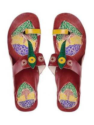 Red Hand-painted Leather Flats