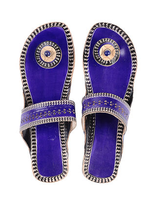 Blue Hand-painted Leather Flats