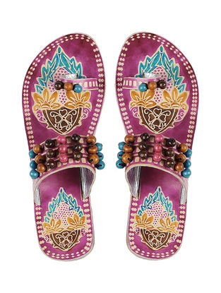 Pink Hand-painted Leather Flats with Beads