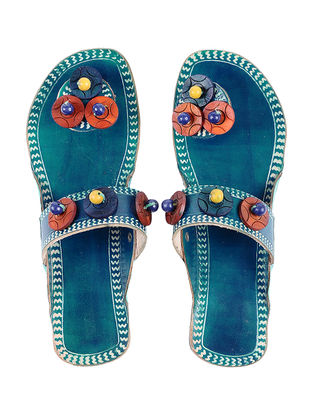 Blue Hand-painted Leather Flats with Beads
