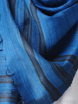 Blue-Black Ghicha Silk Stole