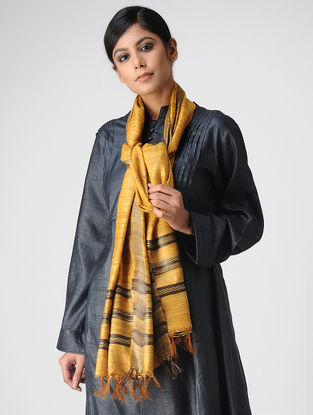 Yellow-Black Ghicha Silk Stole