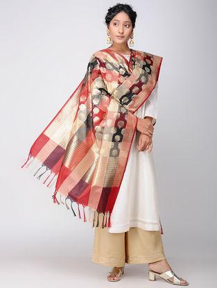 Red-Ivory Benarasi Art Silk Dupatta