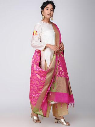 Pink-Green Benarasi Art Silk Dupatta