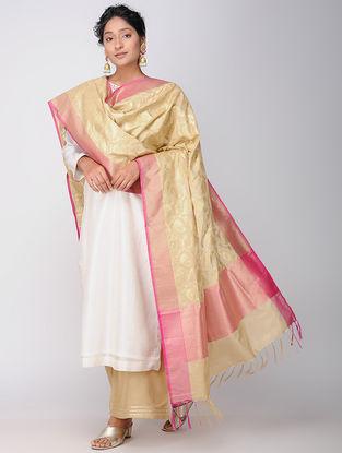 Beige-Pink Benarasi Art Silk Dupatta
