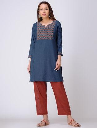Blue Cotton Kurta with Ajrakh Printed Yoke