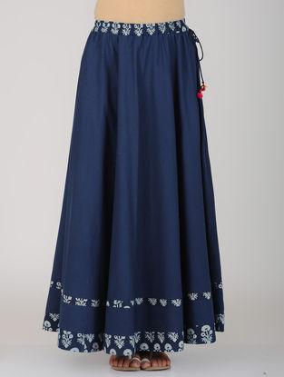 Indigo Printed Tie-Up Waist Cotton Skirt