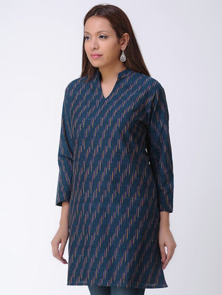 Blue Handwoven Ikat Cotton Tunic