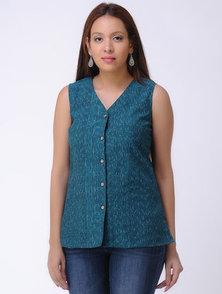 Teal Handwoven Ikat Cotton Top