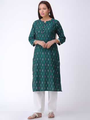 Green Handwoven Ikat Cotton Kurta