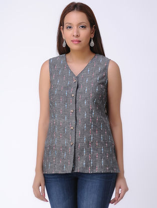 Grey Handwoven Ikat Cotton Top