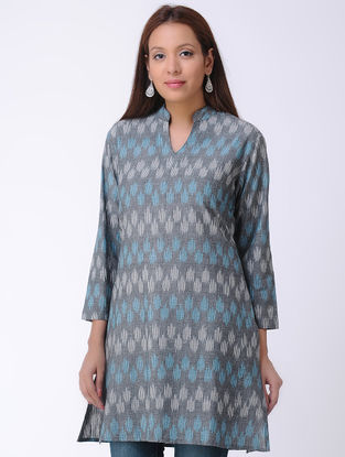 Grey Handwoven Ikat Cotton Kurta Tunic