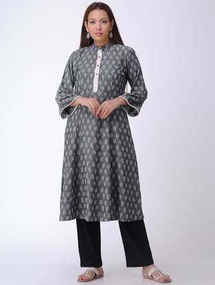 Grey Handwoven Ikat Cotton Kurta