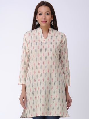 Ivory Handwoven Ikat Cotton Tunic