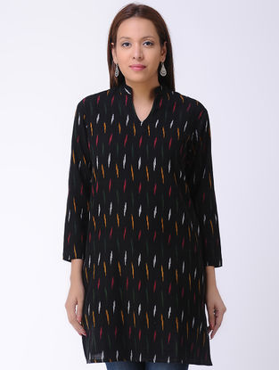 Black Handwoven Ikat Cotton Tunic