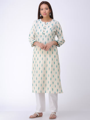 Ivory Handwoven Ikat Cotton Kurta