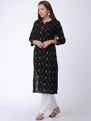 Black Handwoven Ikat Cotton Kurta
