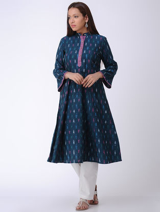 Blue Handwoven Ikat Cotton Kurta