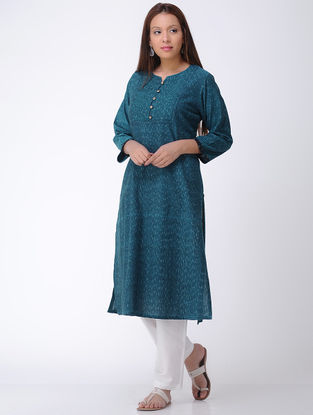 Teal Handwoven Ikat Cotton Kurta
