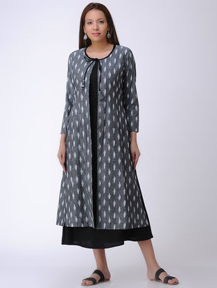 Grey-Black Handwoven Ikat Cotton Cape with Inner (Set of 2)