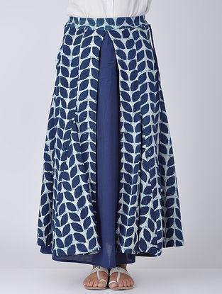 Indigo-Ivory Bagru Printed Elasticated-Waist Cotton Skirt