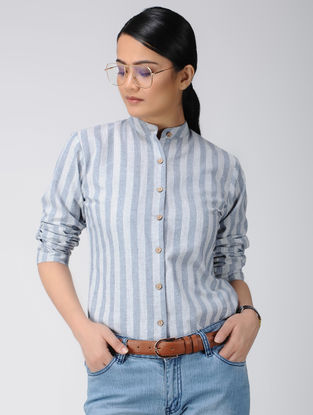 White-Blue Cotton Shirt with Stripes