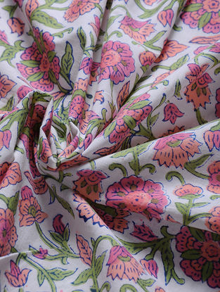 Ivory-Pink Block-printed Gadd Cotton Fabric