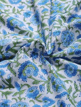 Ivory-Blue Block-printed Gadd Cotton Fabric
