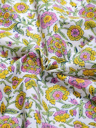 Ivory-Yellow Block-printed Gadd Cotton Fabric