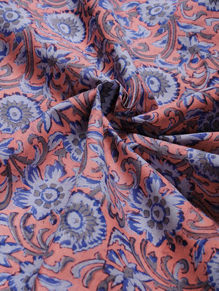 Red-Blue Block-printed Gadd Cotton Fabric