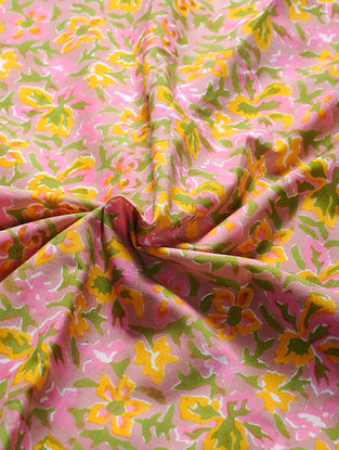 Pink-Green Block-printed Gadd Cotton Fabric