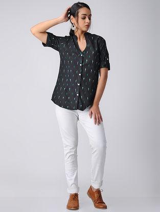 Black Handwoven Cotton Ikat Shirt