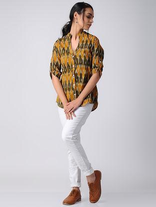 Yellow-Green Handwoven Cotton Ikat Shirt