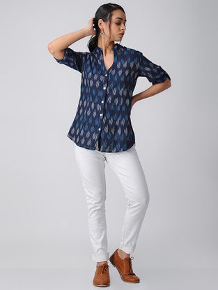 Blue Handwoven Cotton Ikat Shirt