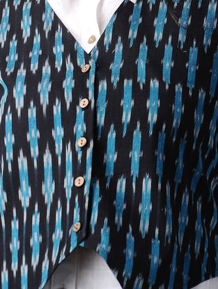 Black-Blue Handwoven Cotton Ikat Jacket